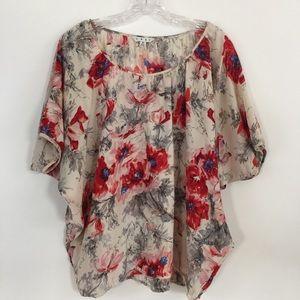 CAbi 100% Silk Floral Dolman Style Blouse